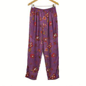 Vintage Ellen Tracy Purple Floral Silk Lounge Pant